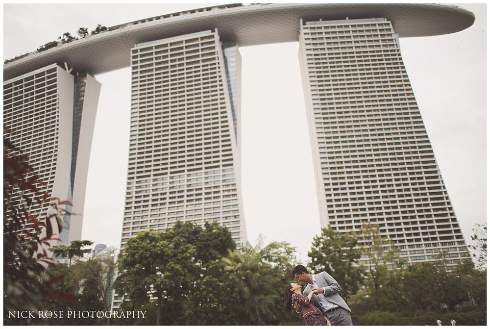 Couple pre wedding photography image taken at the Marina Bay Sands Hotel in Singapore