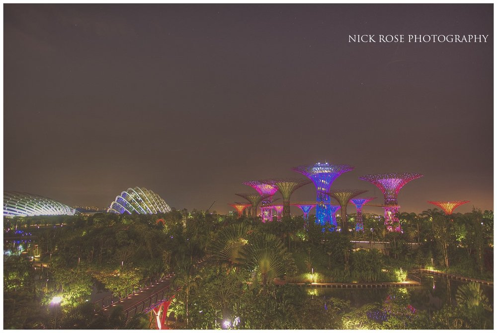 Night view of the Gardens by the Bay in Singapore during a Marina Bay pre wedding photography shoot