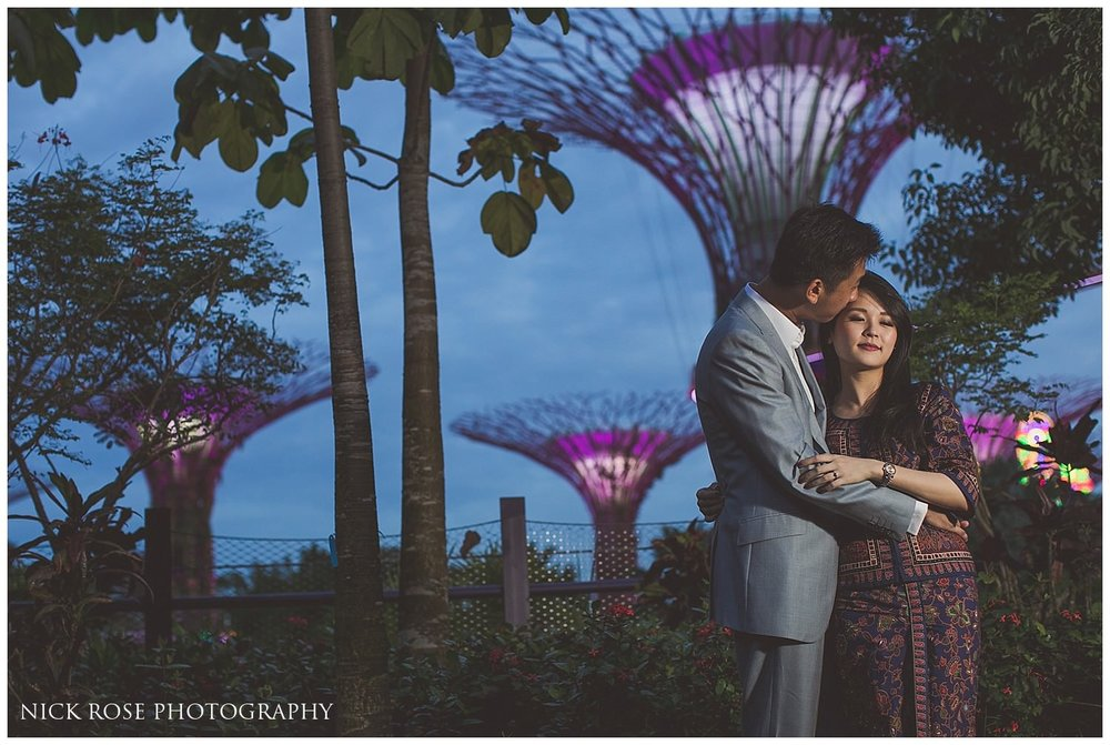 Night time pre wedding photography at Gardens by the Bay in Singapore