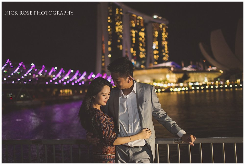 Night time pre wedding photography at Marina Bay in Singapore