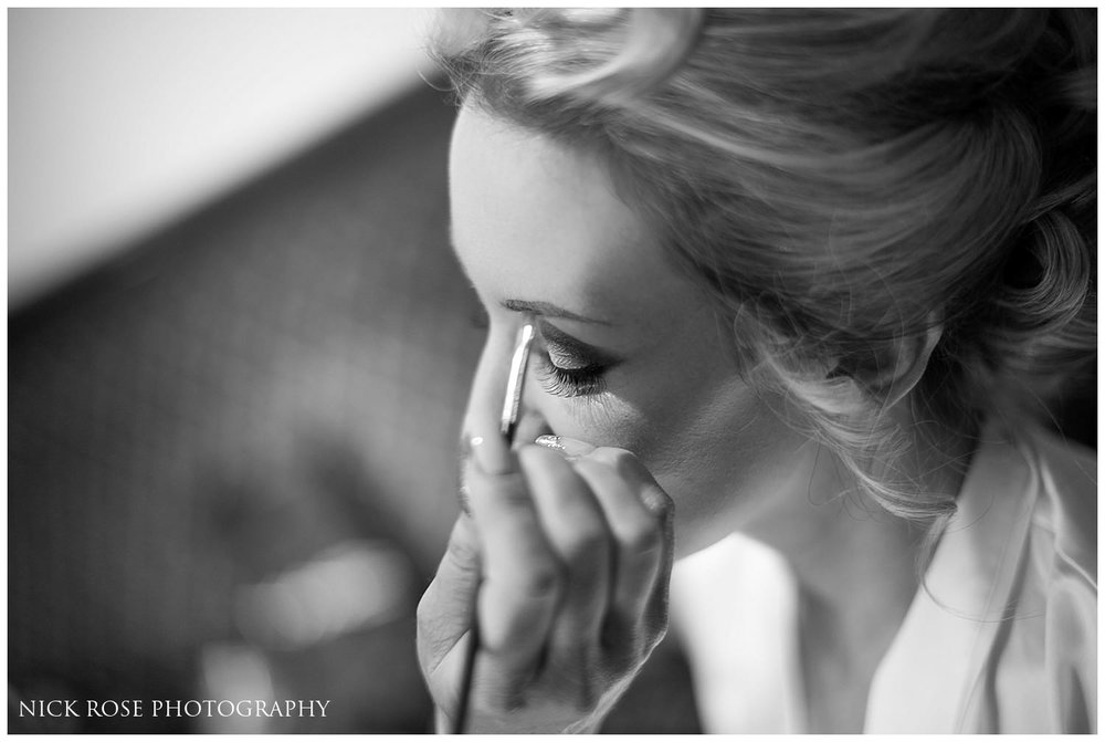 Bride having makeup applied for a North Yorkshire wedding
