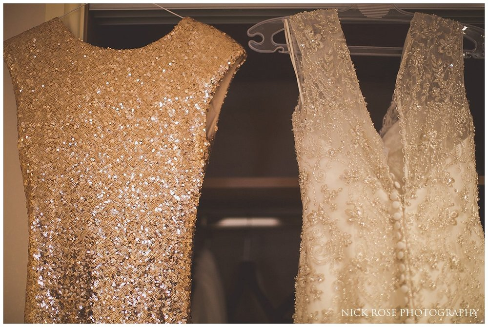 Wedding dress and bridesmaids dress hanging up for a Harrogate wedding in Yorkshire