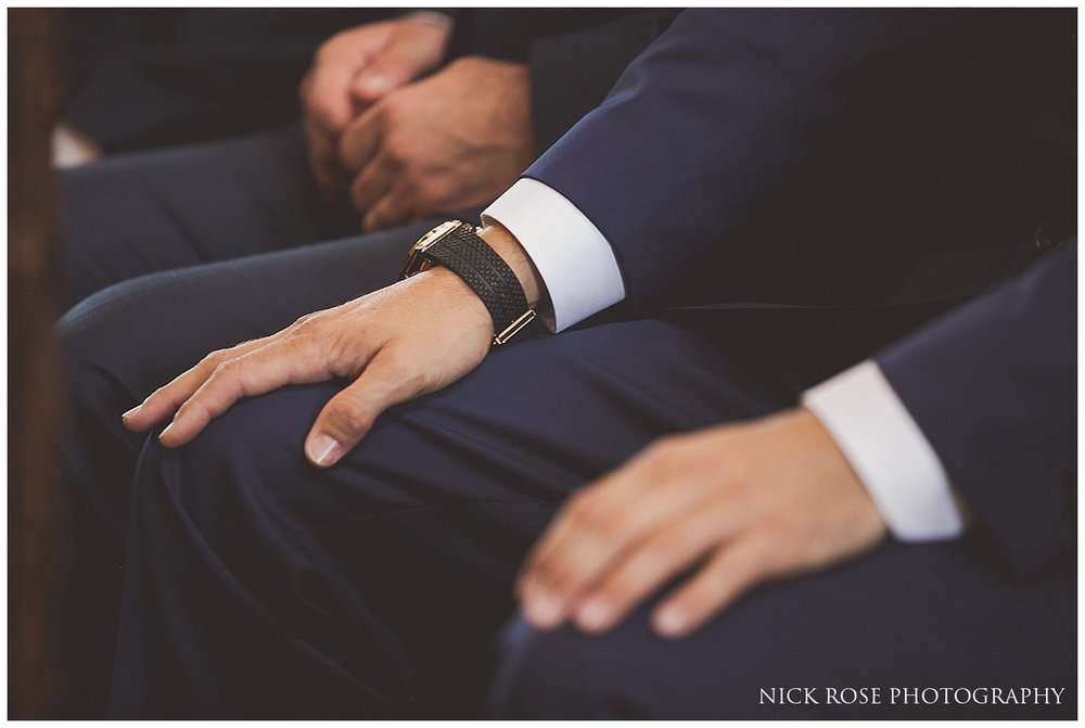 Close up photograph of grooms hands before wedding ceremony in Tickhill Yorkshire