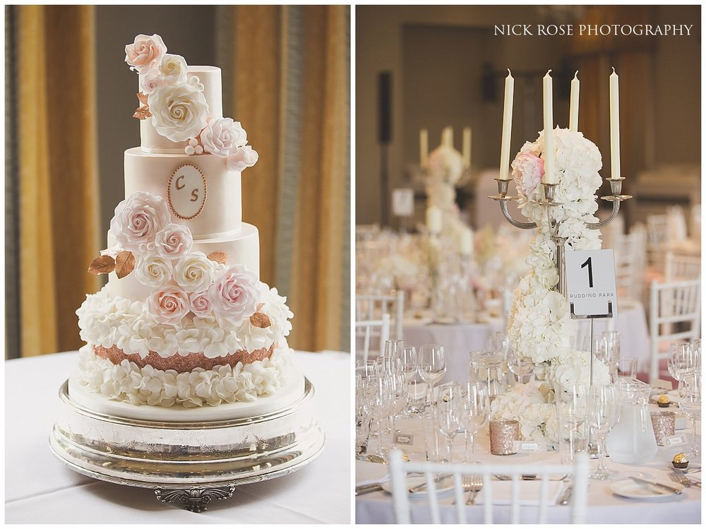 Custom wedding cake at a Rudding Park wedding ceremony in Harrogate