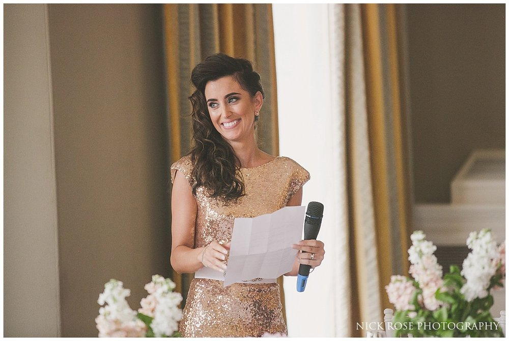 Maid of honour wedding speech at Rudding Park in Harrogate