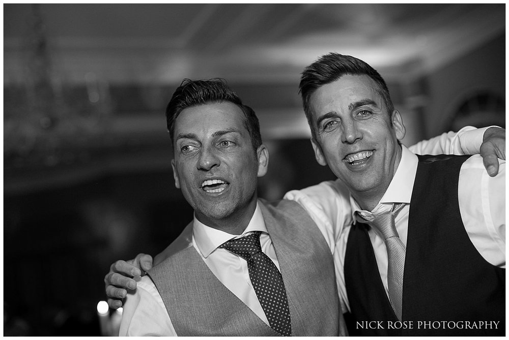 Groom and guest on the dancefloor a wedding in the Rudding Park Hotel in Harrogate North Yorkshire