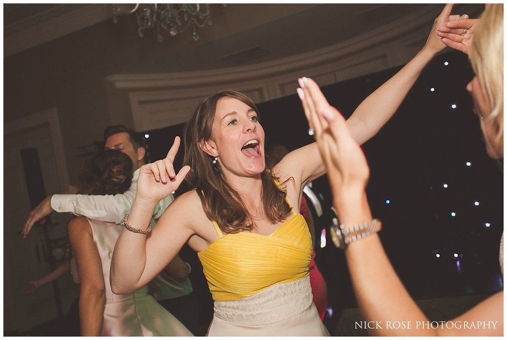Lady dancing during a wedding reception at the Rudding Park Hotel in Harrogate North Yorkshire