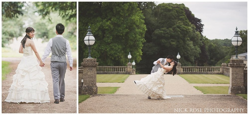 Bride and groom Cotswolds pre wedding photography at the Heythrop Park Hotel