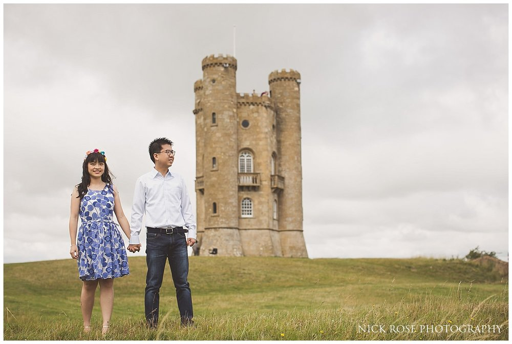 Pre wedding photography at Broadway Tower in the Cotwolds