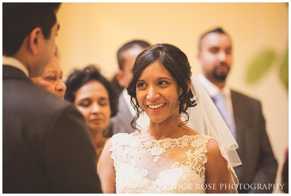 Bride looking at groom during a Hedsor House wedding in Buckinghamshire