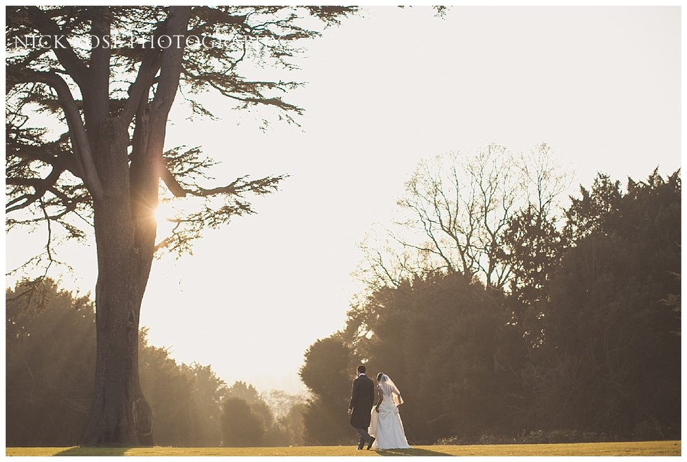 Sunny wedding portrait during a winter wedding at Hedsor House in Buckinghamshire