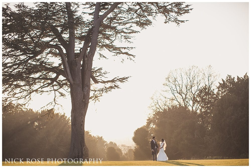 Bide and groom photograph in the gardens at Hedsor House Buckinghamshire