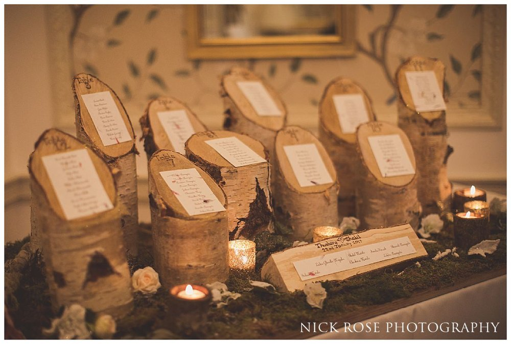 Forest themed table plan by JJ Occasions for a Hedsor House wedding in Buckinghamshire