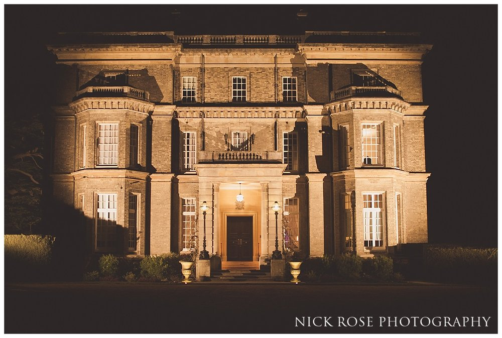 Hedsor House at night during a wedding reception in Buckinghamshire