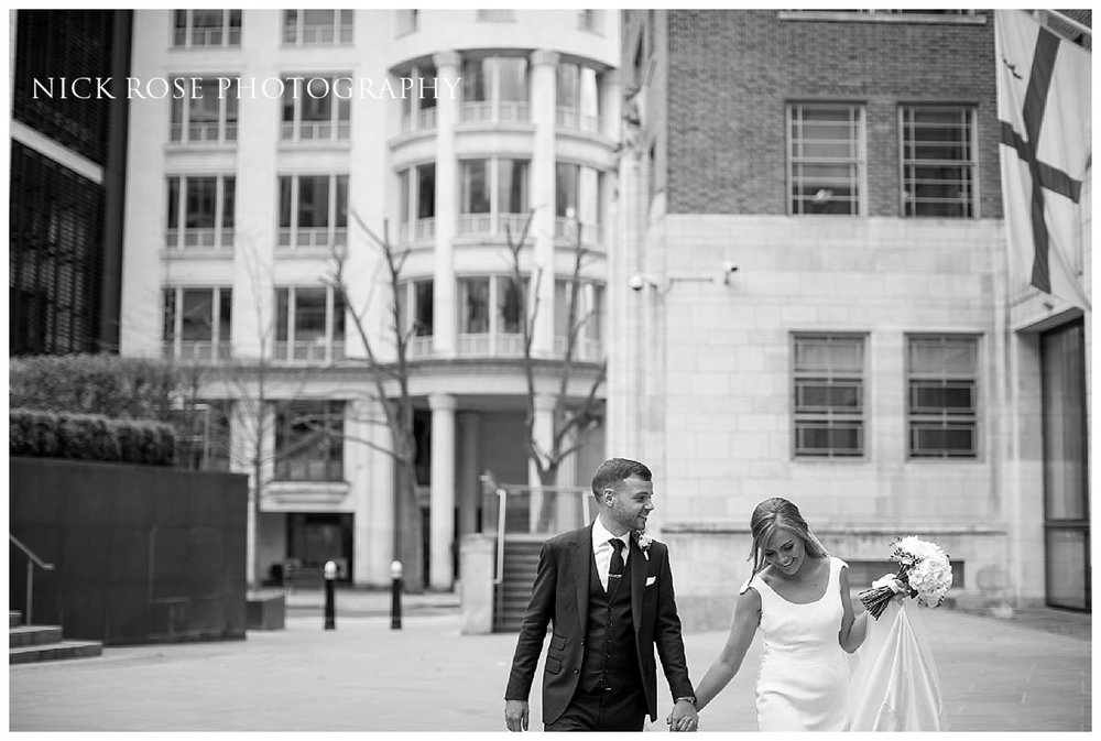 Couple wedding portrait for a Hawksmoor Guildhall wedding in London