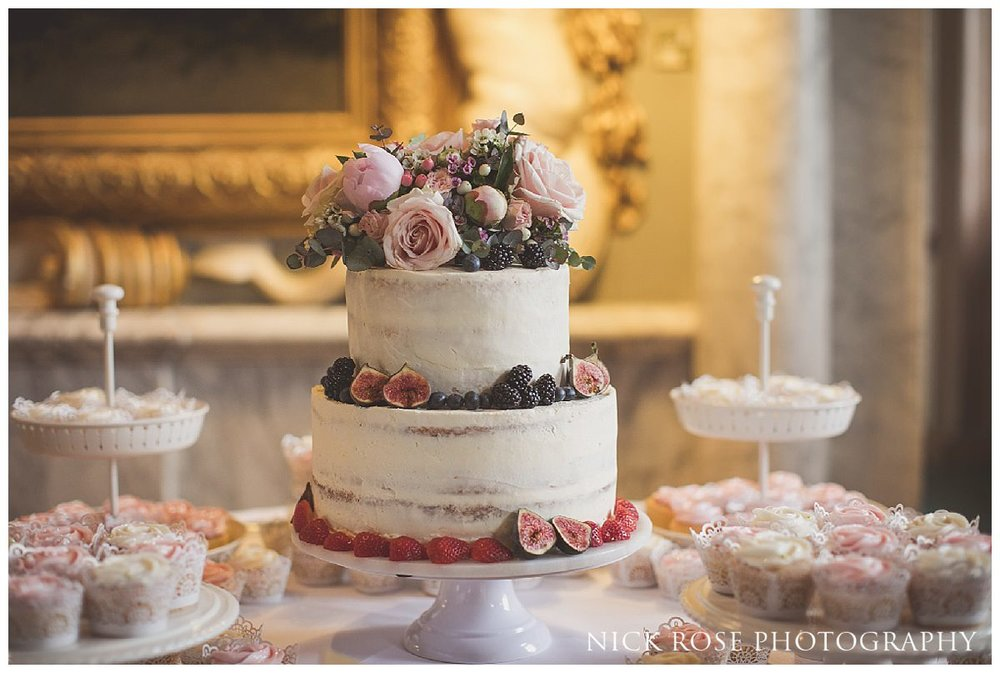 Homemade wedding cake made by the brides sister for a Rickmansworth wedding