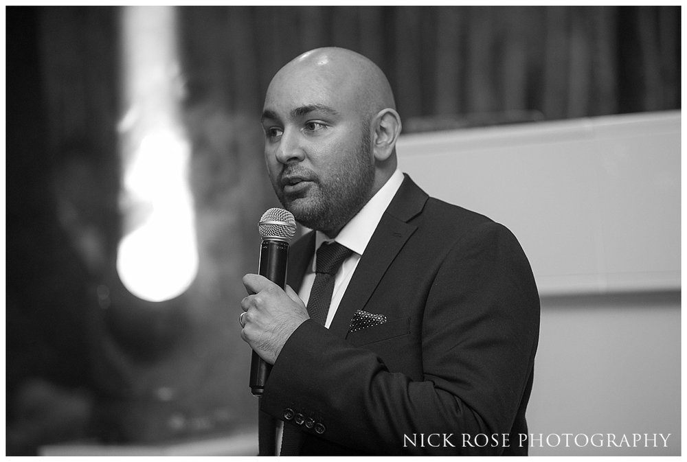 Grooms wedding speech at his Hindu wedding reception at The Grove in Chandler's Cross in Watford