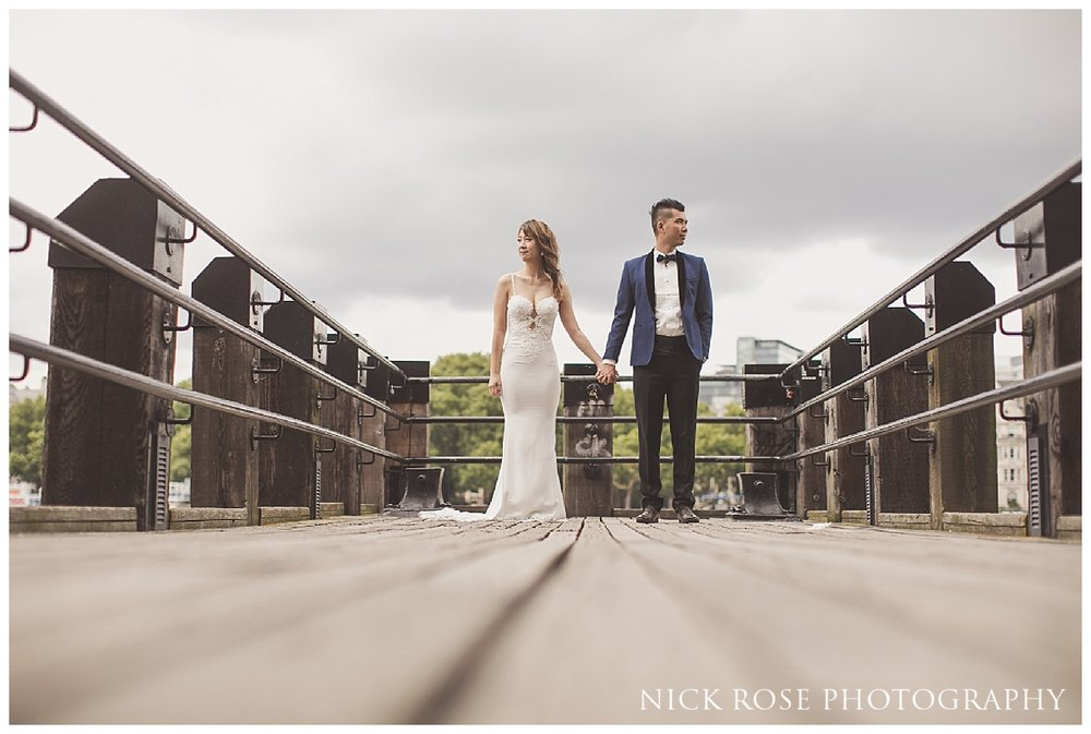 Pre wedding photography portrait along the River Thames