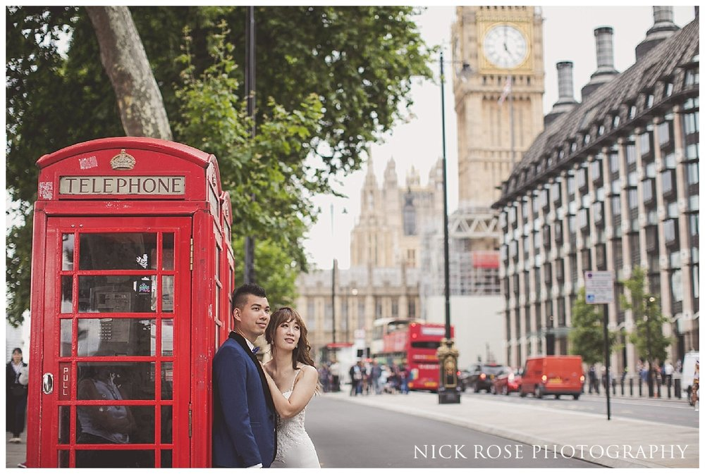 Red phone box pre wedding photography in Westminster, London