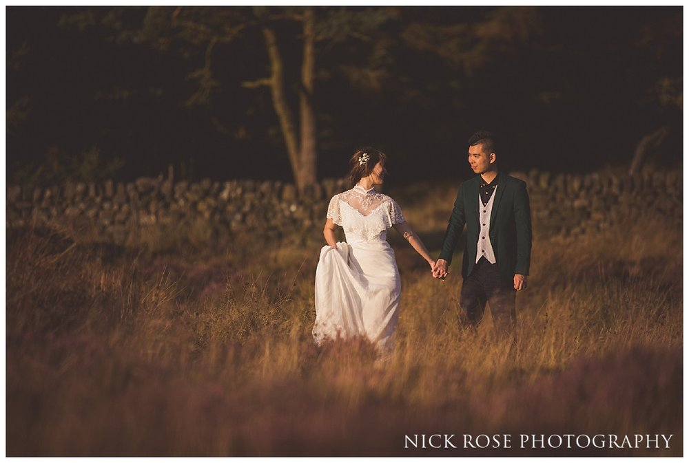 Sunset pre wedding photography shoot in the Peak District