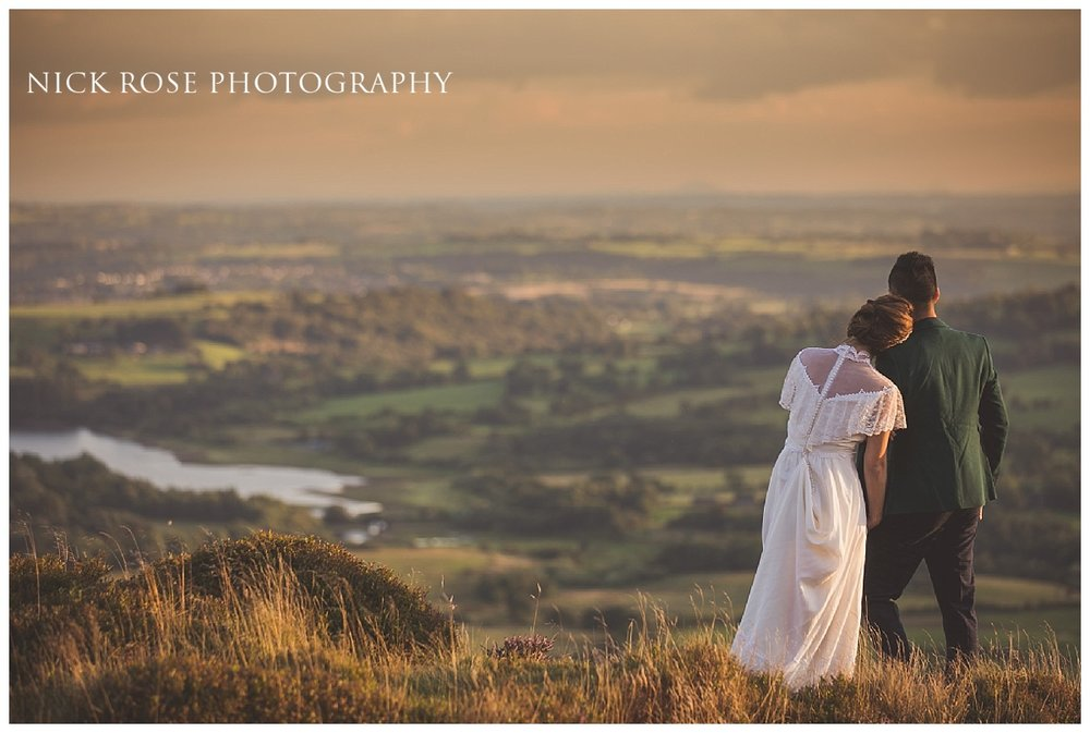 Bride and groom during a sunset pre wedding engagement photography shoot in the Peak District