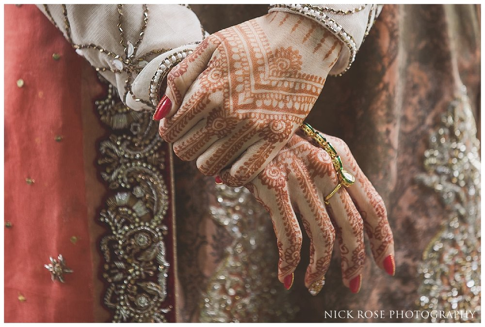 Pakistani bride close up photograph of hands with henna