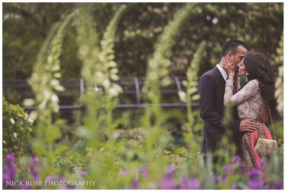 Pakistani bride and groom in Hyde Park in London for a pre wedding photography portrait