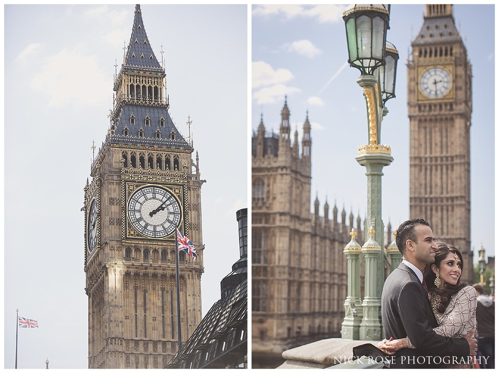 Pakistani pre wedding photography on Westminster Bridge in front of Big Ben for a portrait photography session with Nick Rose Photography