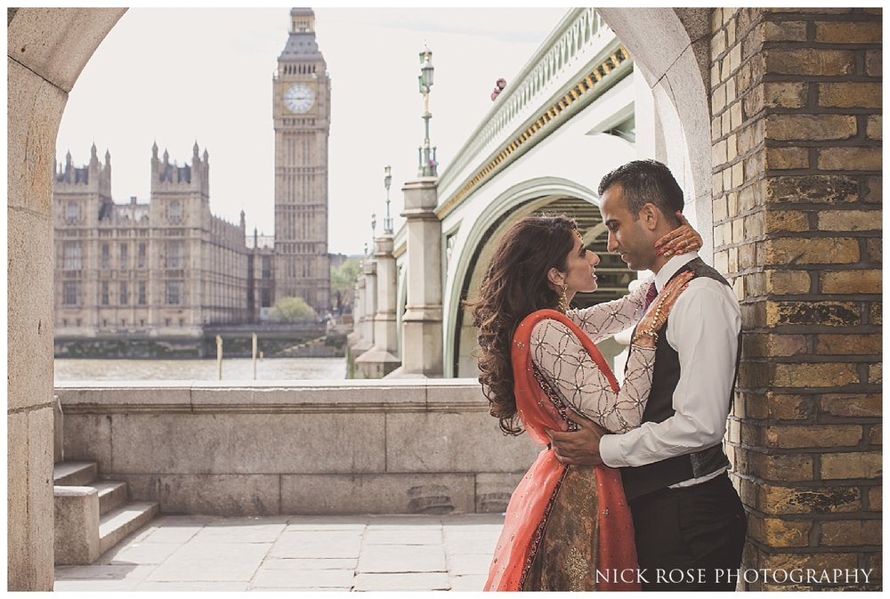 Pakistani pre wedding photograph of a South Asian bride and groom in Westminster London