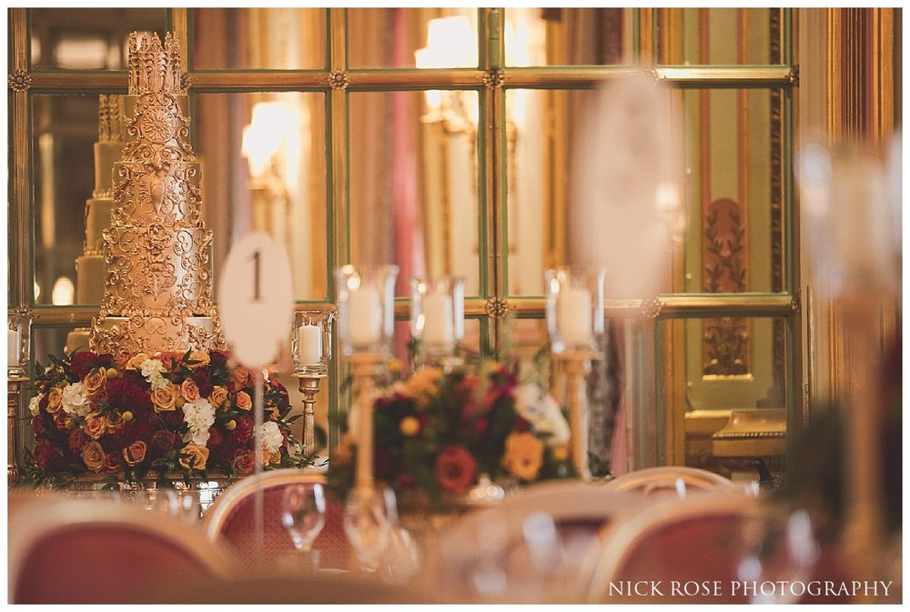 Gold wedding cake in the Marie Antoinette Suite in the Ritz London