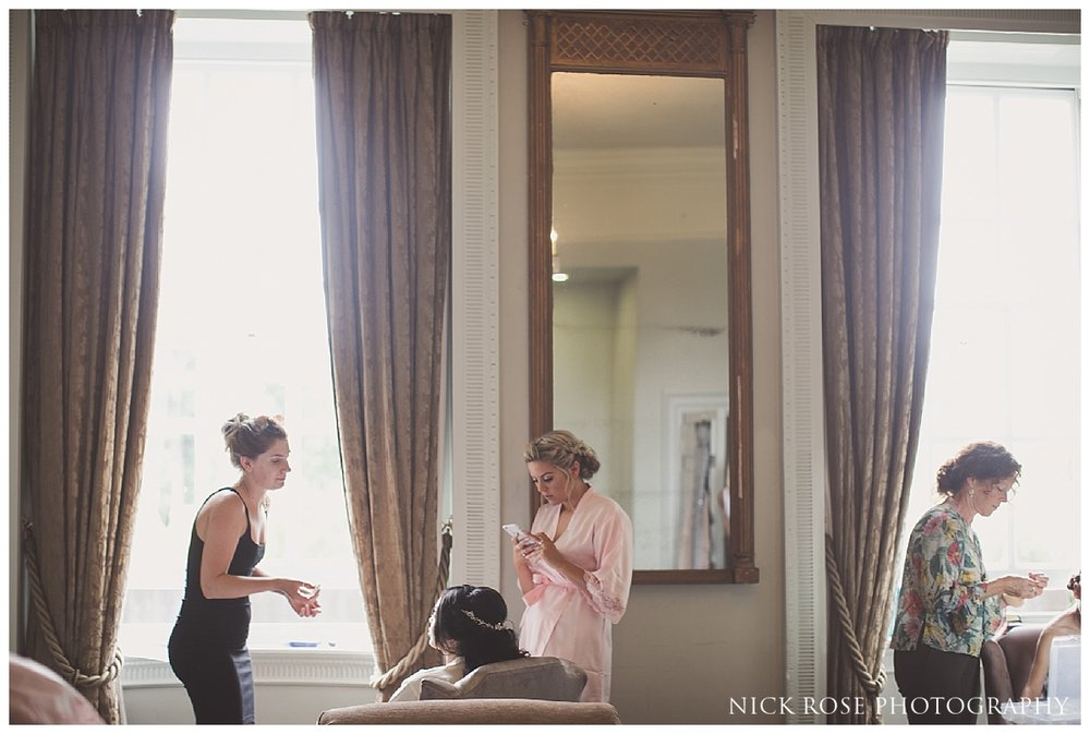Bridal preparations for a Buxted Park hotel wedding in East Sussex