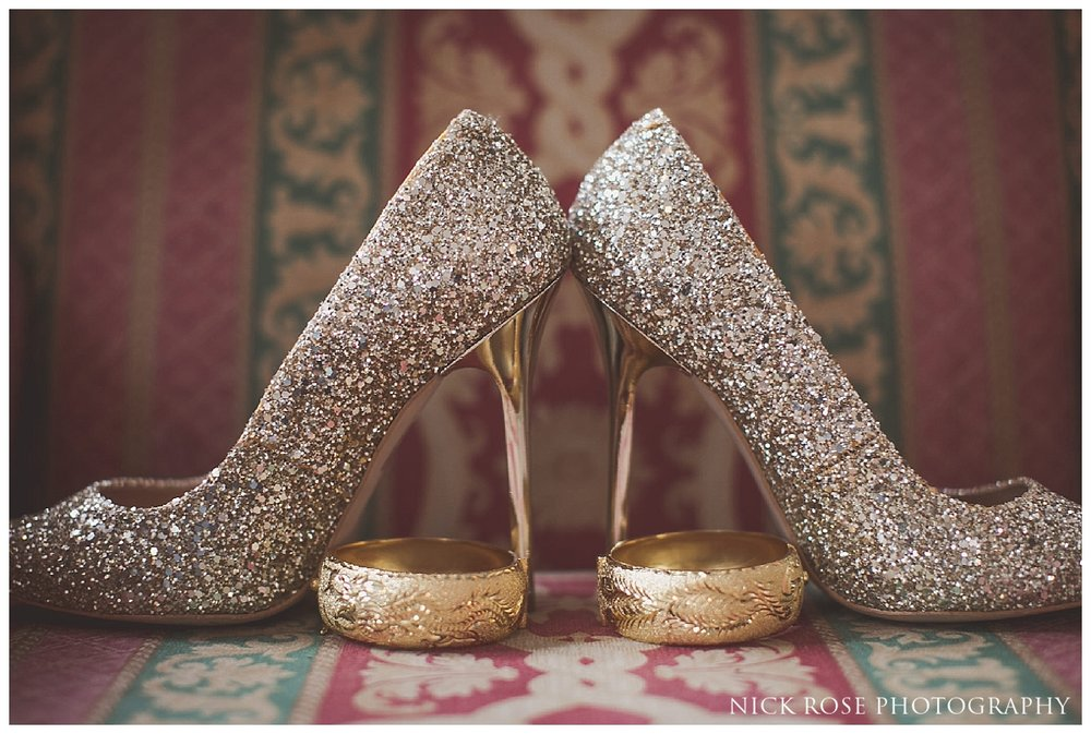 Silver wedding shoes for a Hampton Court Place wedding at the Little Banqueting House in Surrey