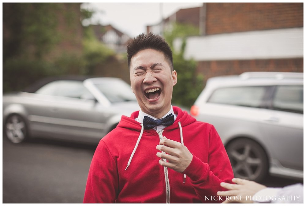 Groom games before a Hampton Court Place wedding in London