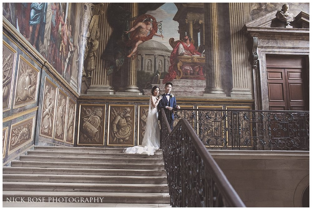 Bride and groom wedding photography portrait on the Kings staircase at Hampton Court Palace