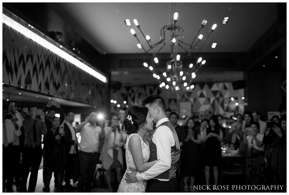Bride and groom first dance at The Refinery in London