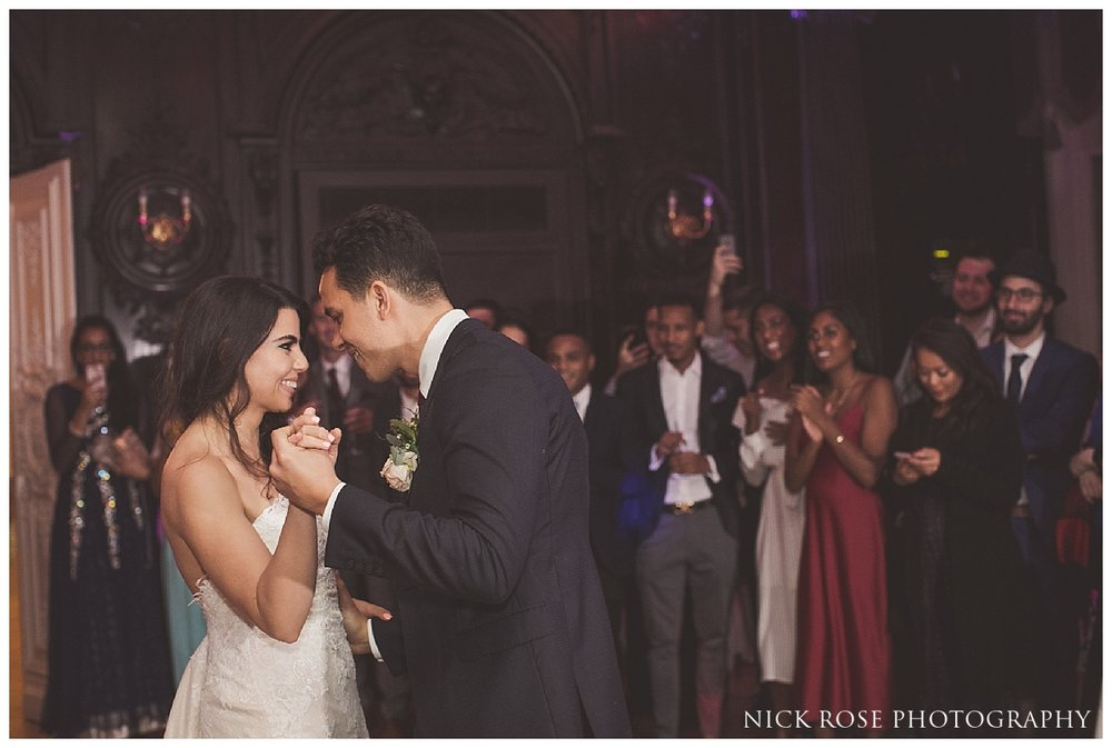 Bride and groom first dance at Dartmouth House in Mayfair