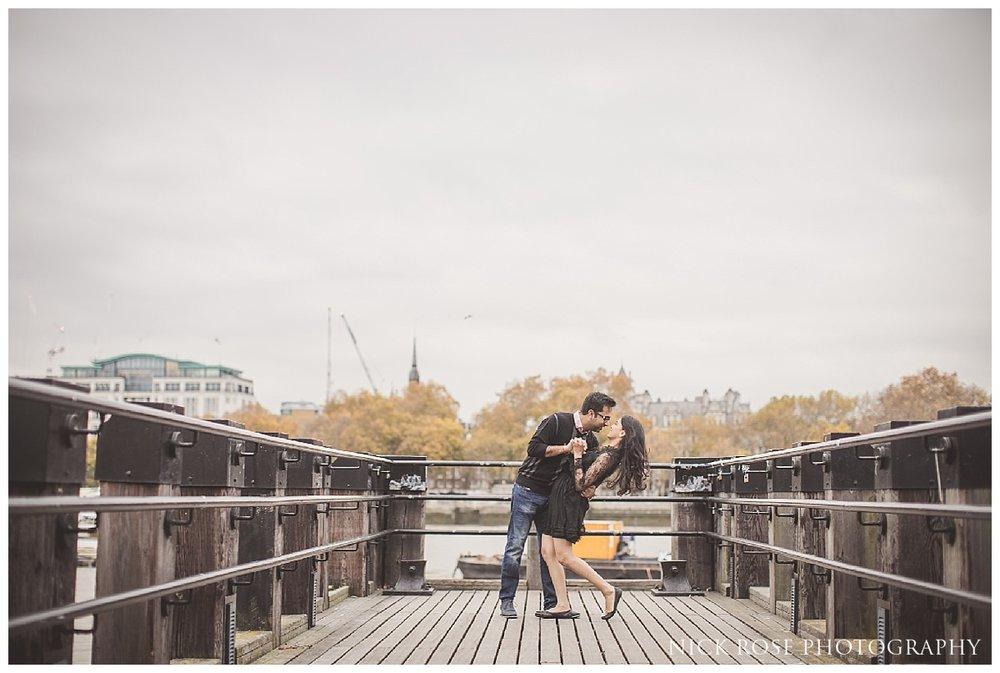 River Thames pre wedding photography in November in London
