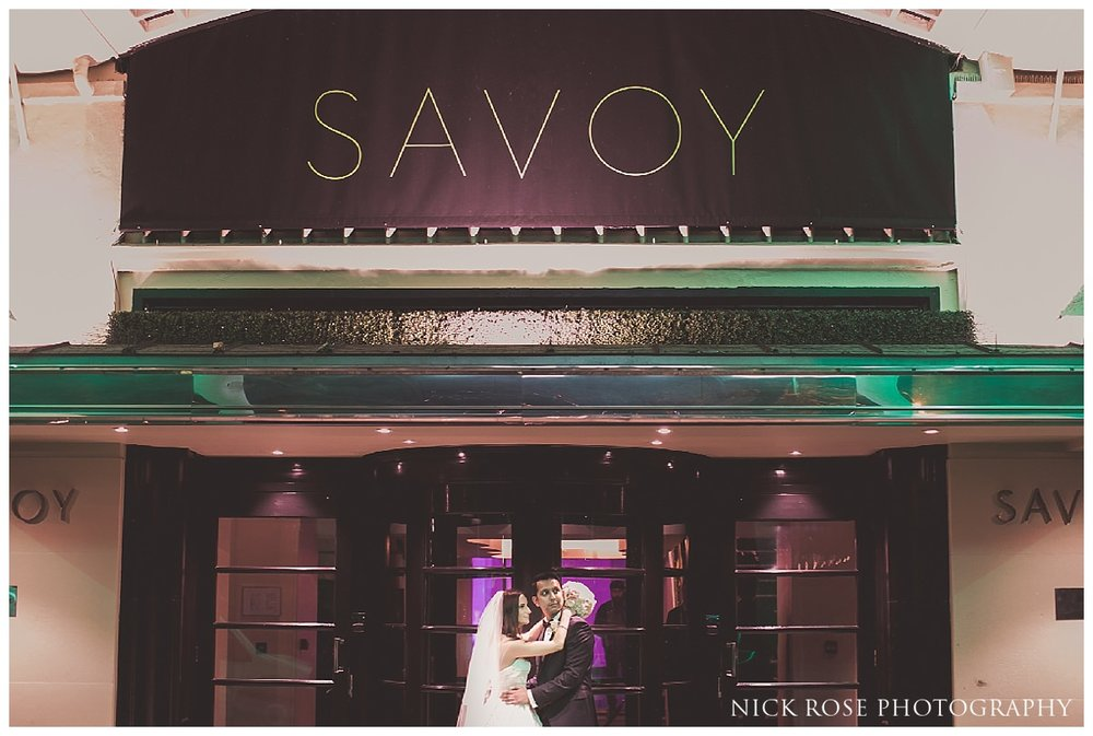 Bride and groom wedding photography portrait at The Savoy in London