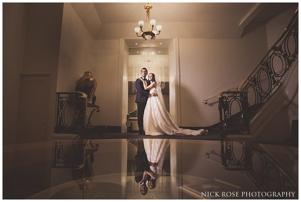 Bride and groom wedding photography in The Savoy in London