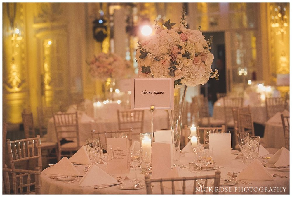 Lancaster Ballroom wedding reception photography at The Savoy London