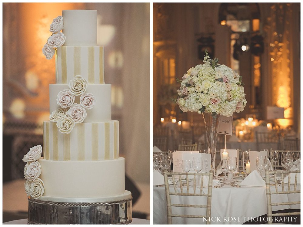 Lancaster Ballroom wedding reception details at The Savoy London