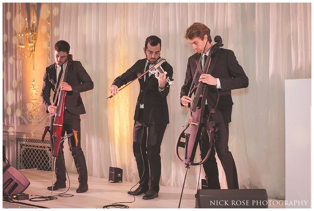 Ember Trio performing during a Savoy London wedding reception