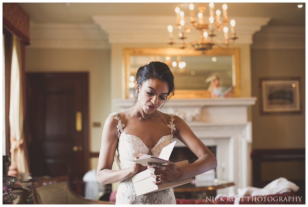 Bridal wedding preparations at the Stoke Park Hotel in Buckinghamshire