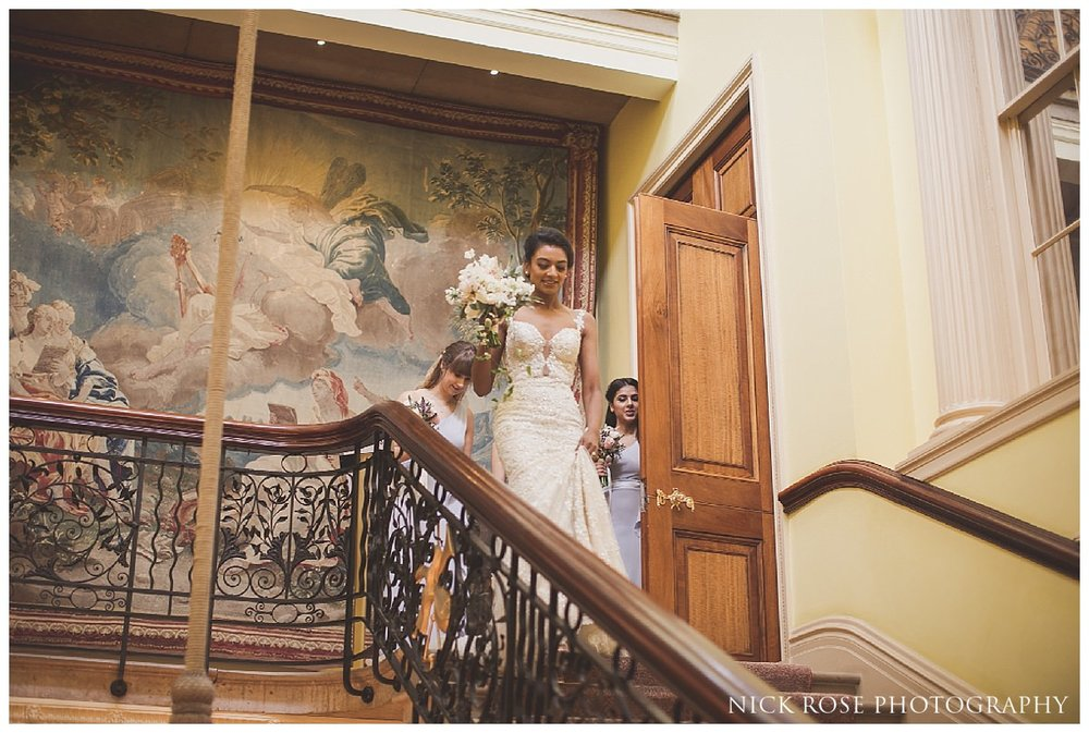Indoor civil wedding ceremony setup at Stoke Park in Buckinghamshire