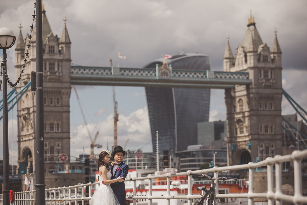 London pre wedding shoot at Tower Bridge in England