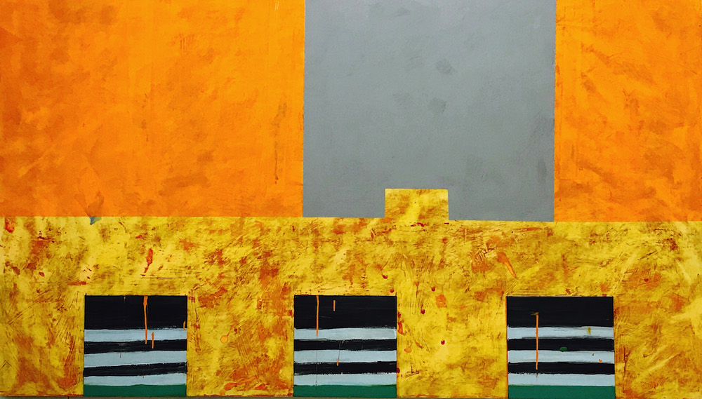 Jan Chenoweth, Fragments 92,  48 x 84 in., Various paints on wood panel, price upon request. ©Jan Chenoweth.