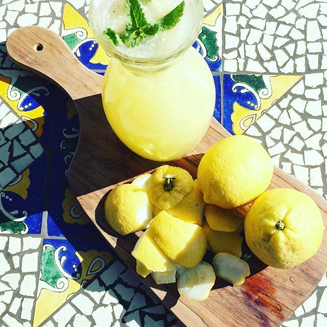 First batch of homemade lemonade of the summer. Having lemon tree in my garden never gets old for this North London girl! #lovinla l#foldingroom #homemade