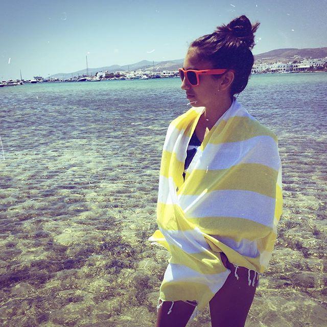 Paddling in the Aegean Sea.... #foldingroom #handloomed #pestemal #beachtowel