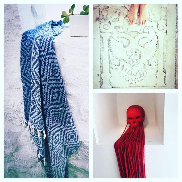 Travels with my Prism Towel in Denim....Mykonos Town. Greece #foldingroom #handloomed #travelessentials