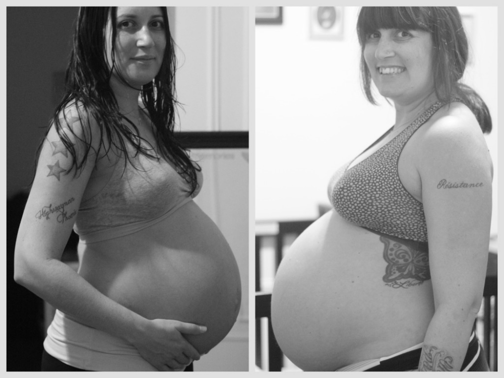 On the left is Luna at 36 weeks in March 2014 and on the right this little one at 36 weeks, July 2015